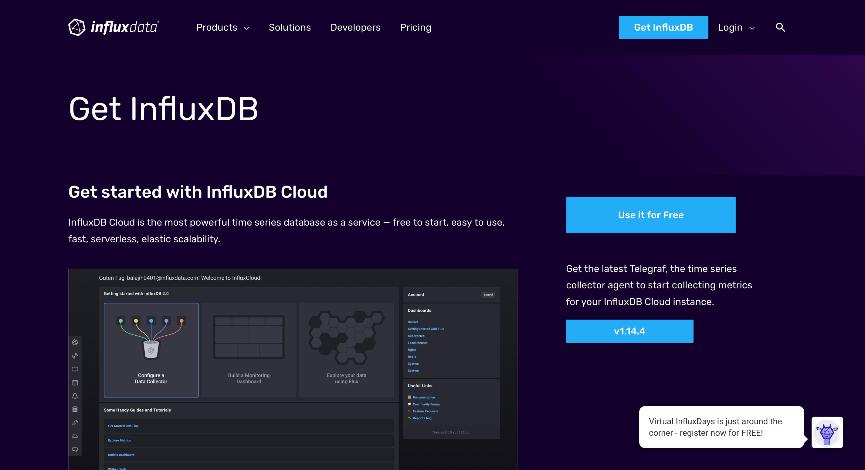 Get InfluxDB webpage