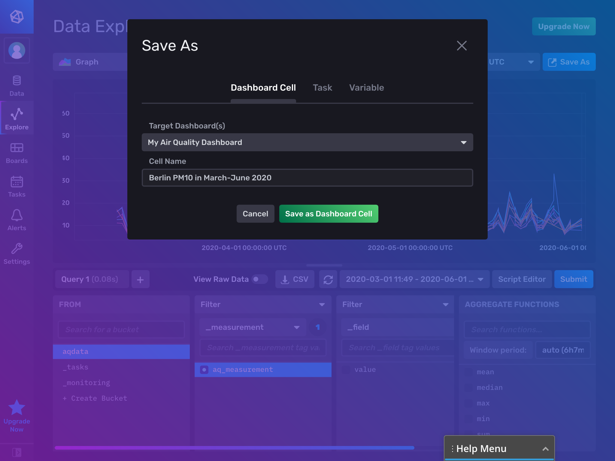 Add cell to dashboard