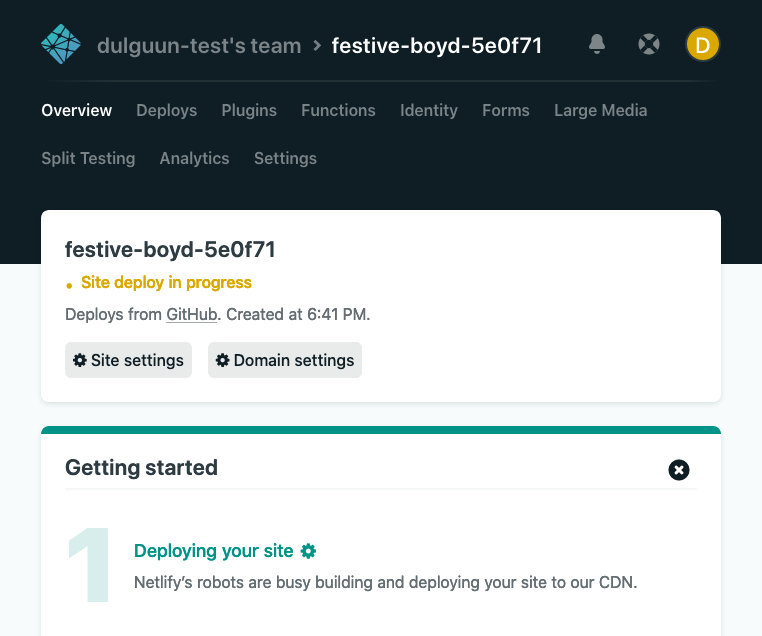 Netlify's building the site screen