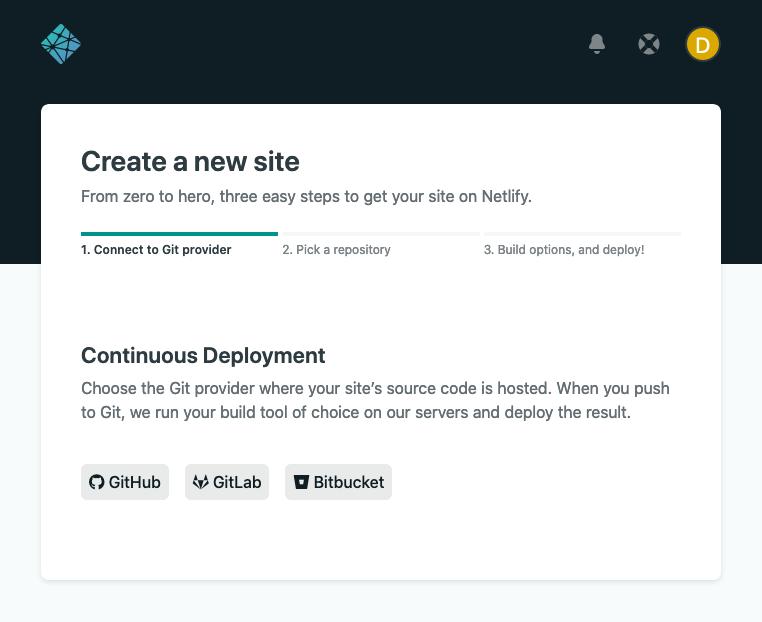 Netlify's create new site screen