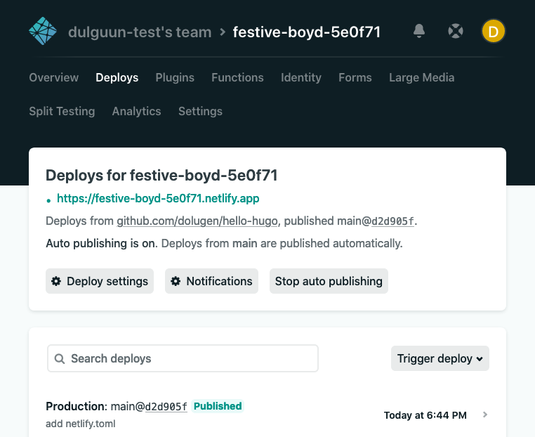 Netlify's last build says 'Published'