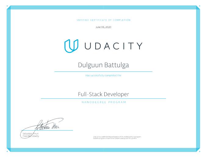 Full-Stack Developer Nanodegree certificate for me.